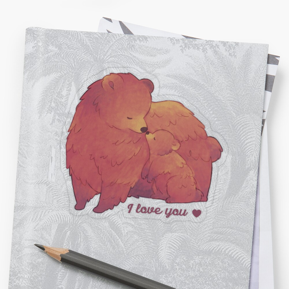 Happy Mothers Day 2 - Mama Bear & Cub [Dark BG] Sticker