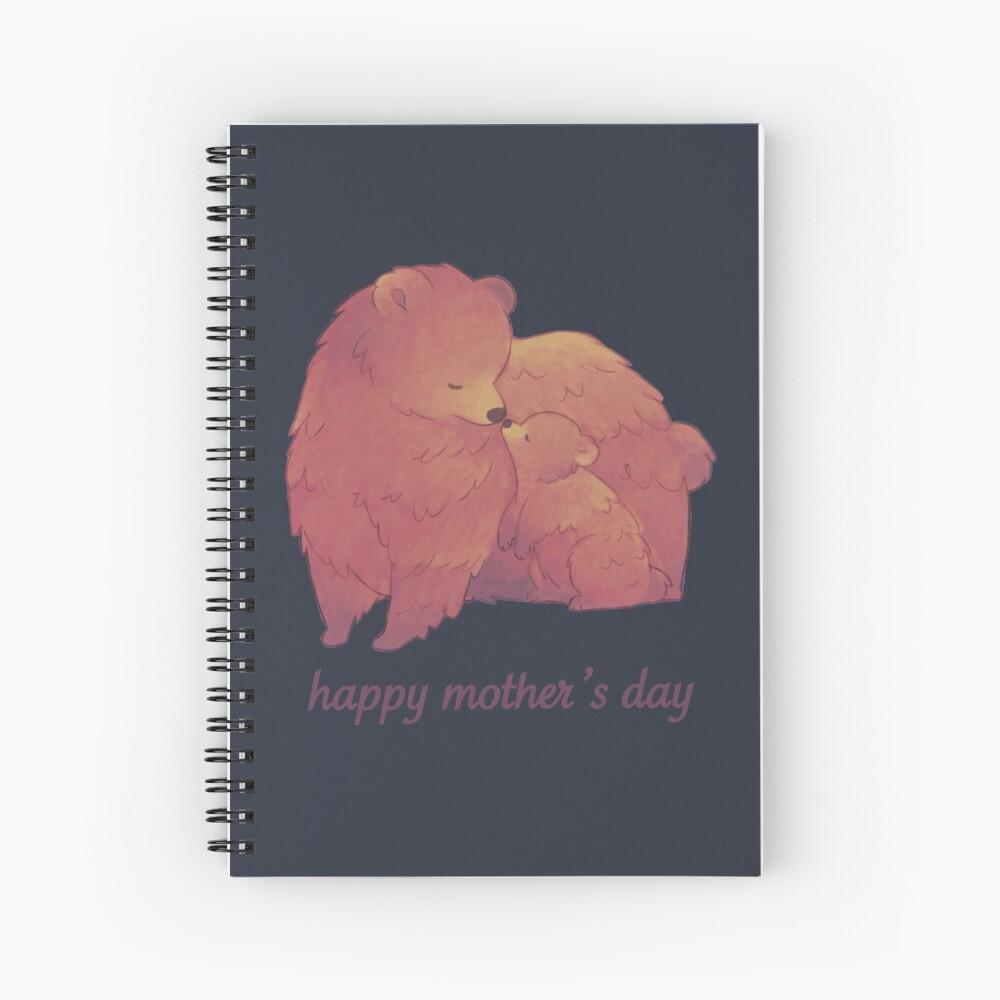 Happy Mothers Day - Mama Bear & Cub [Dark BG] Spiral Notebook