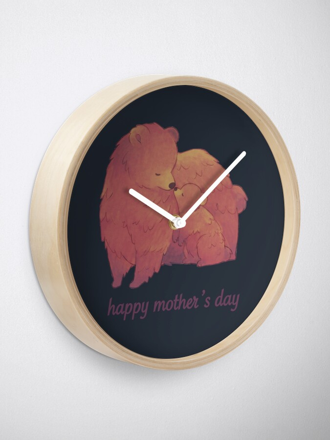 Alternate view of Happy Mothers Day - Mama Bear & Cub [Dark BG] Clock