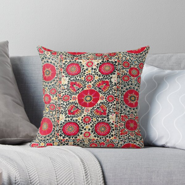 Shakhrisyabz Suzani Uzbek Embroidery Print Throw Pillow