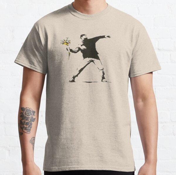 Banksy - Man Throwing Flowers - Antifa vs Police Manifestation Design For Men, Women, Poster Classic T-Shirt