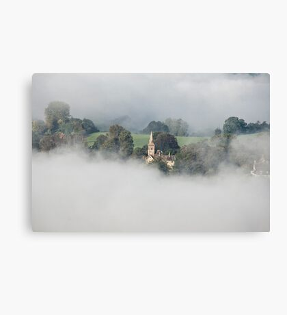 Early Mist, Shaftsbury Church Fontmell Down Reserve Canvas Print