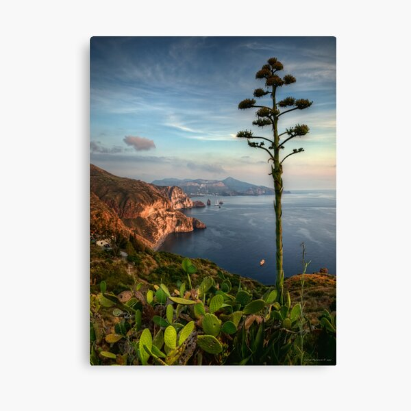 Vista panoramica dei Faraglioni di  Lipari Canvas Print