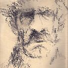 'The Old Man' rendered drawing on paper with stamp. by Rebecca Rees