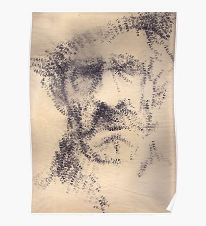 'The Old Man' rendered drawing on paper with stamp. Poster