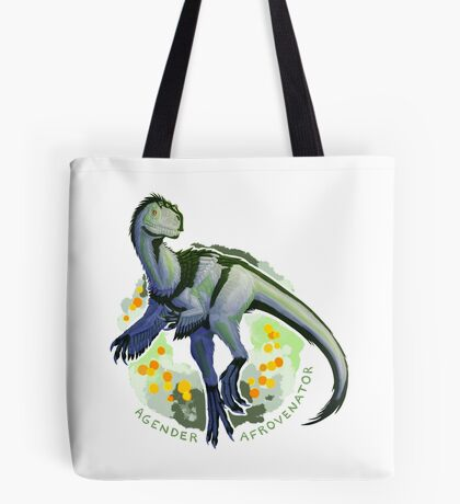 Agender Afrovenator (with text)  Tote Bag