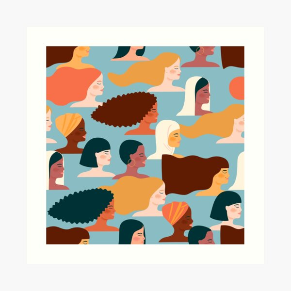 Colorful feminist pattern of women from all over the world Art Print
