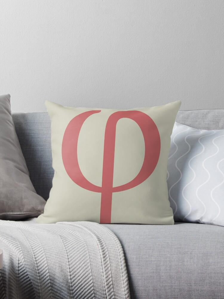 Phi Math Symbol Minimal Throw Pillows By Ozgur Kusakoglu Redbubble