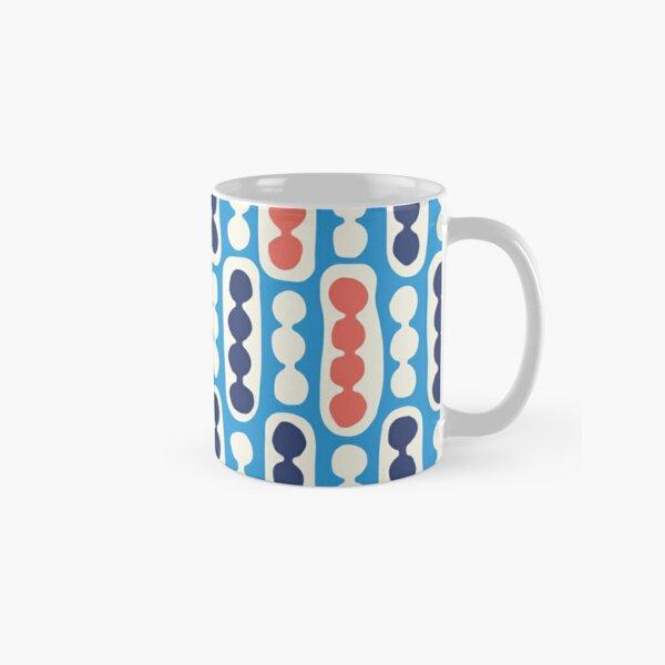 Pebbles and Pods pattern in bright blue, coral red, dark blue denim, cream Classic Mug