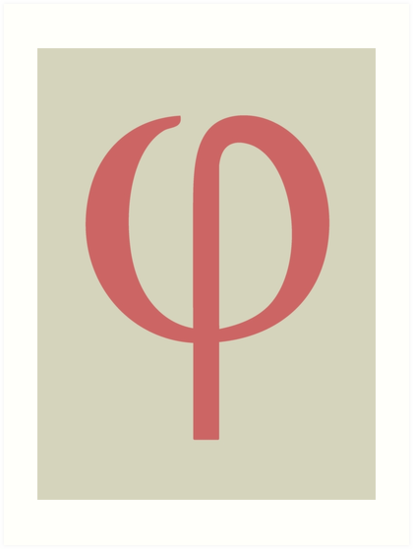 Phi Math Symbol Minimal Art Prints By Ozgur Kusakoglu Redbubble