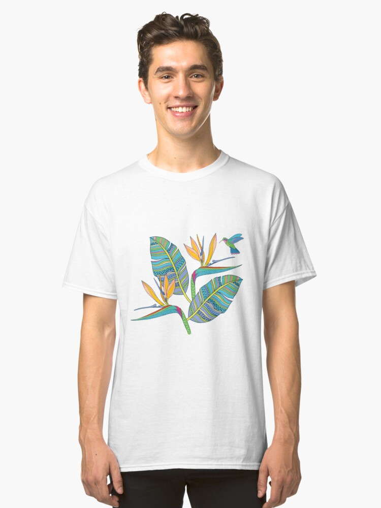Alternate view of Bohemian Birds of Paradise on pink Classic T-Shirt