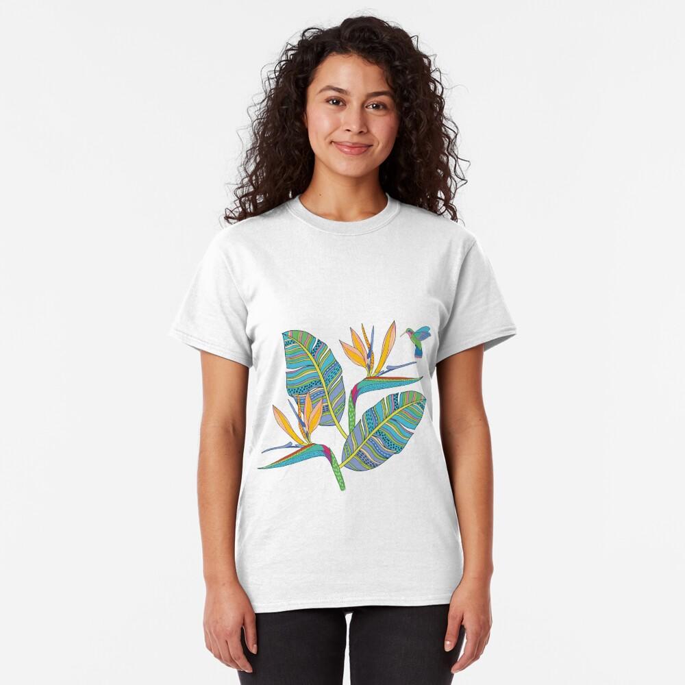Bohemian Birds of Paradise on pink Classic T-Shirt