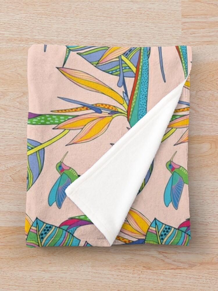 Alternate view of Bohemian Birds of Paradise on pink Throw Blanket