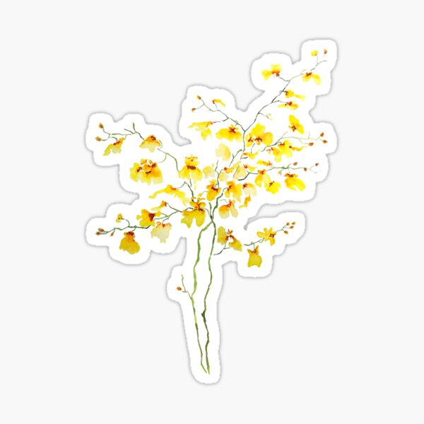 yellow Oncidium Orchid watercolor Sticker