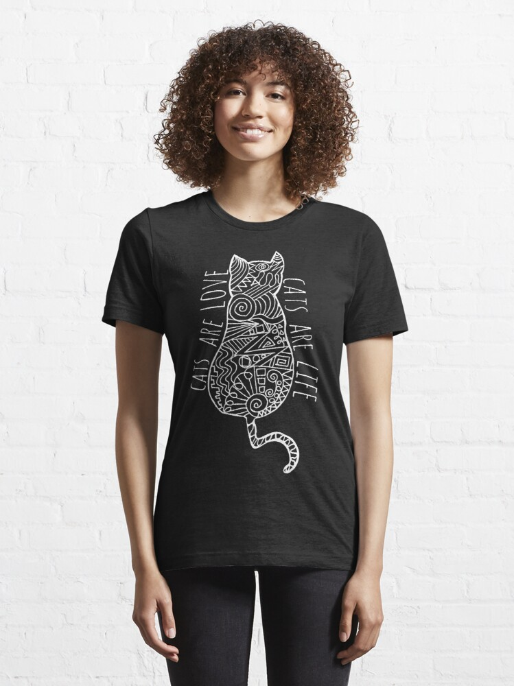 Alternate view of cats are love, cats are life (white)  Essential T-Shirt