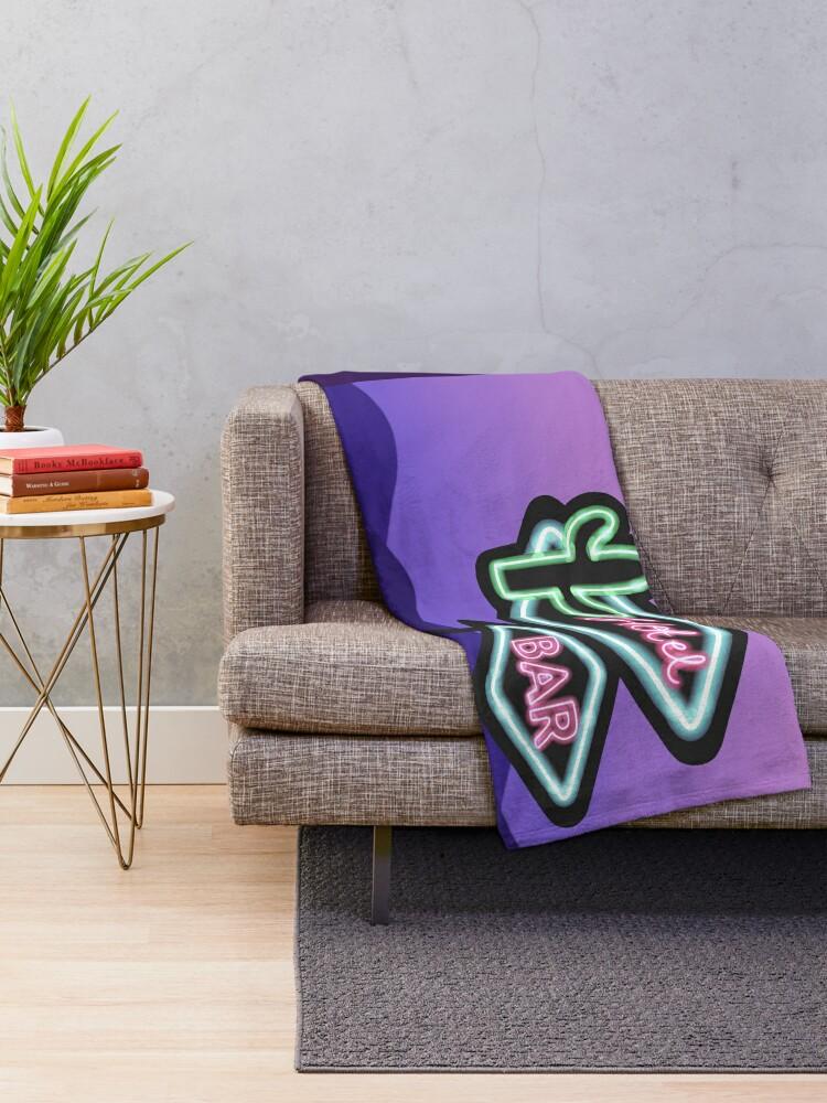 Alternate view of Neon mountains Throw Blanket