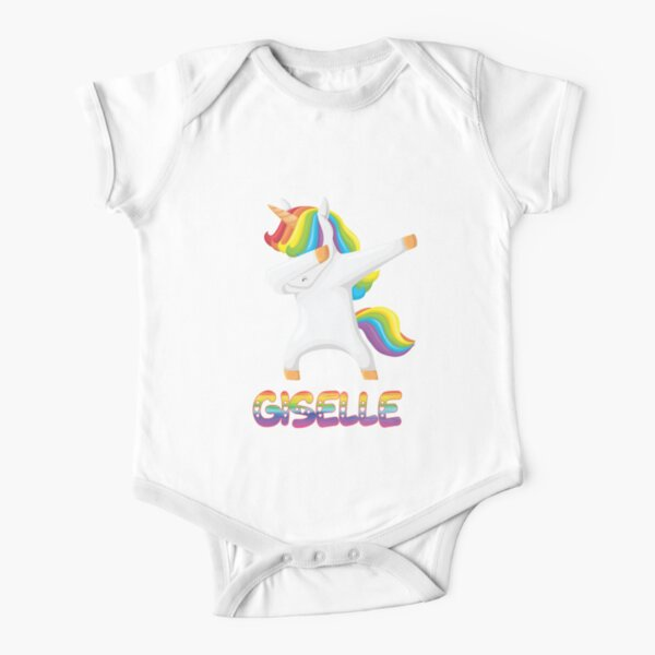 Dabbing Unicorn Giselle - Special Personalised Gift For Giselle Short Sleeve Baby One-Piece