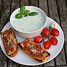 Cold Cucumber-soup with bruschetta by Dirk Pagel