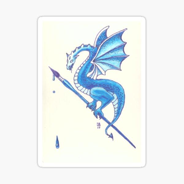 Blue Dragon Art Warrior Sticker