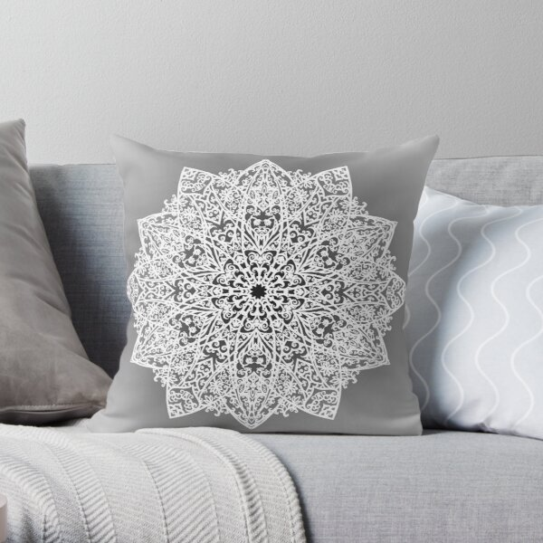 Filigree Mandala *white & grey* Throw Pillow
