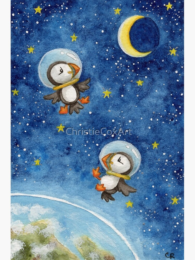 Space Puffins by ChristieCoxArt