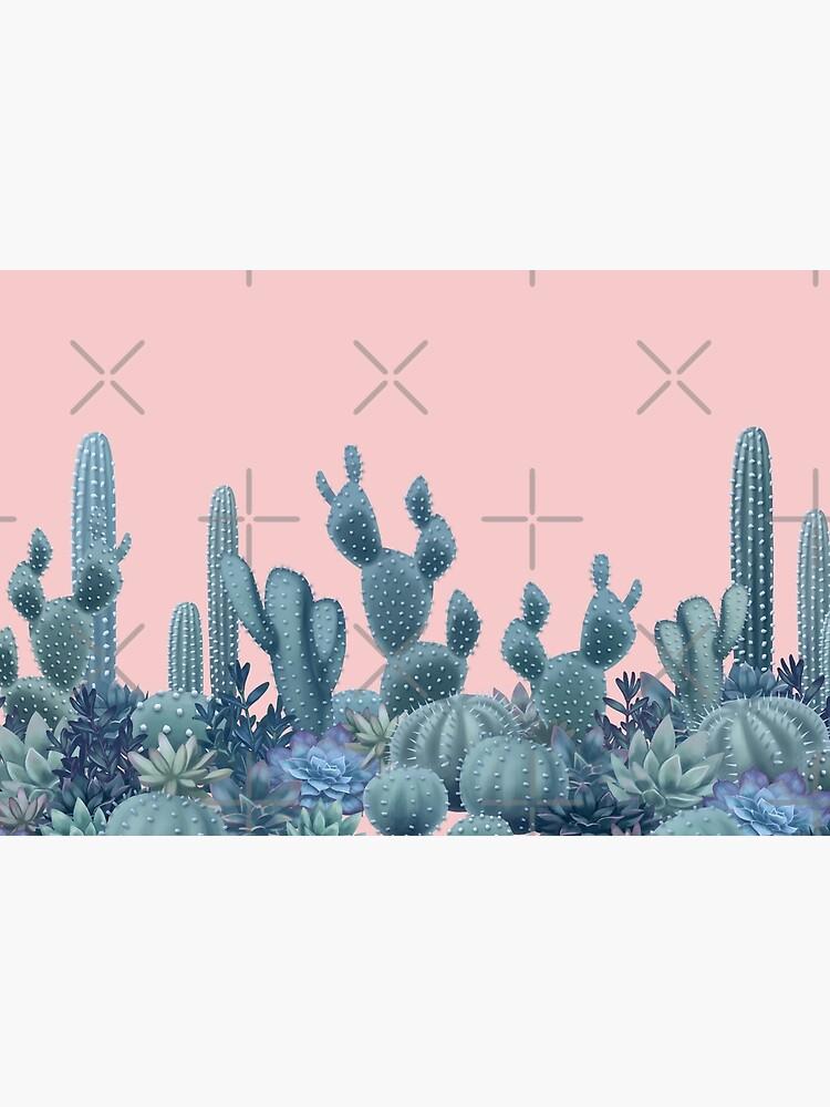 Serenity Cacti on Rose Quartz Background by ikerpazstudio