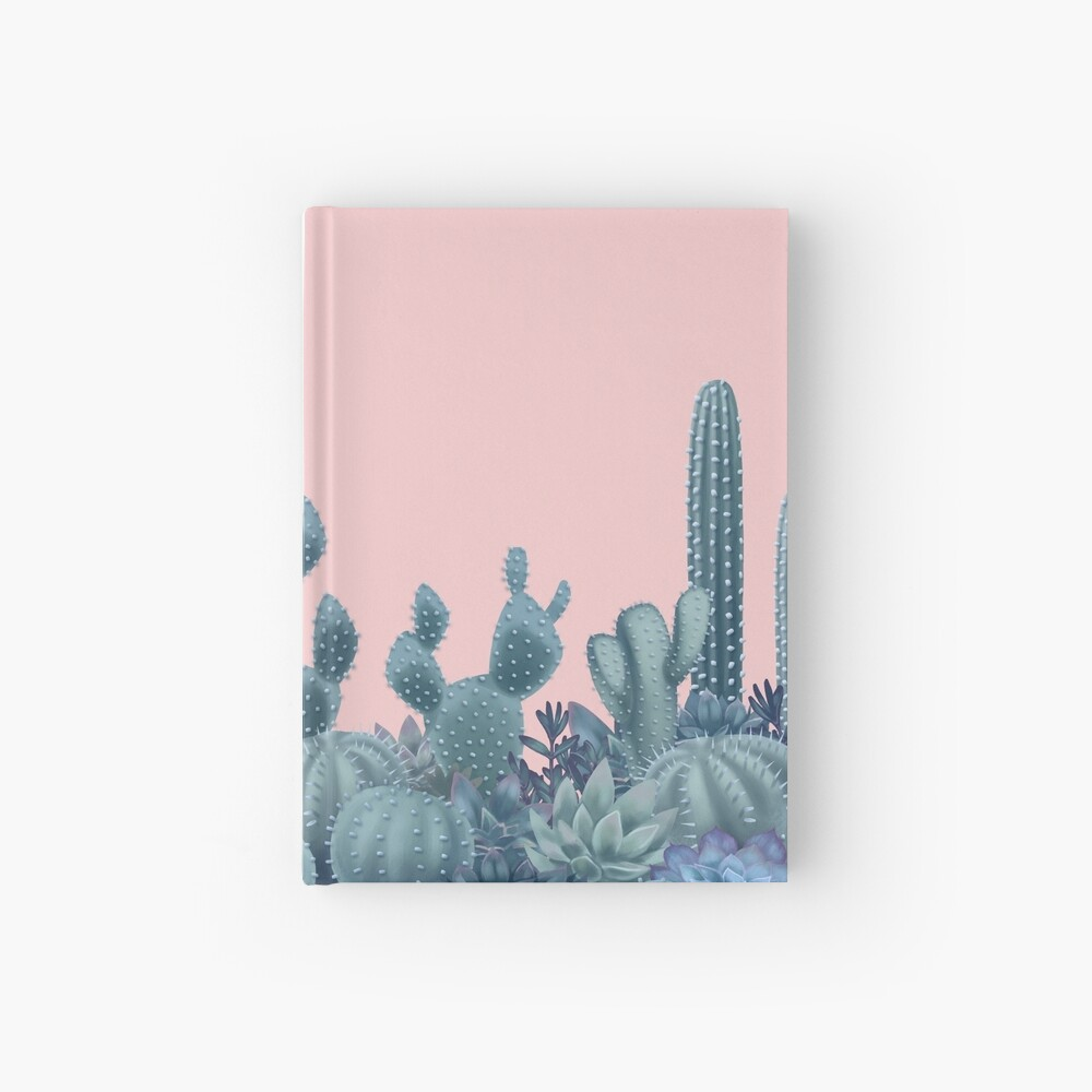 Serenity Cacti on Rose Quartz Background Hardcover Journal