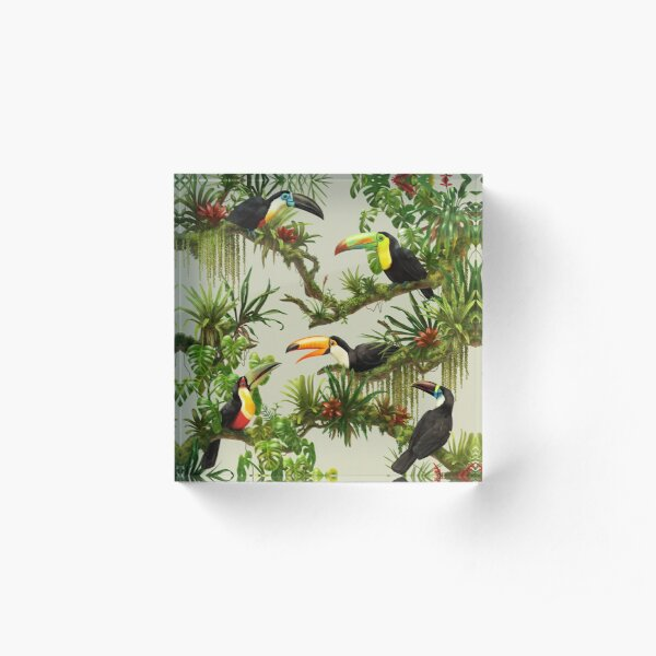 Toucans and bromeliads - canvas background Acrylic Block