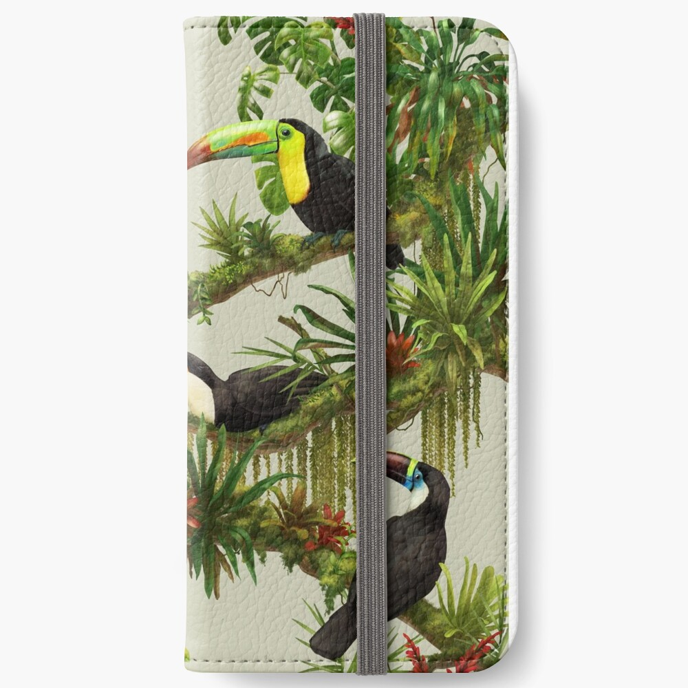 Toucans and bromeliads - canvas background iPhone Wallet