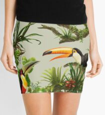 Toucans and bromeliads - canvas background Mini Skirt