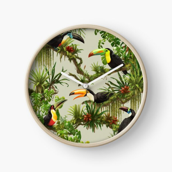 Toucans and bromeliads - canvas background Clock