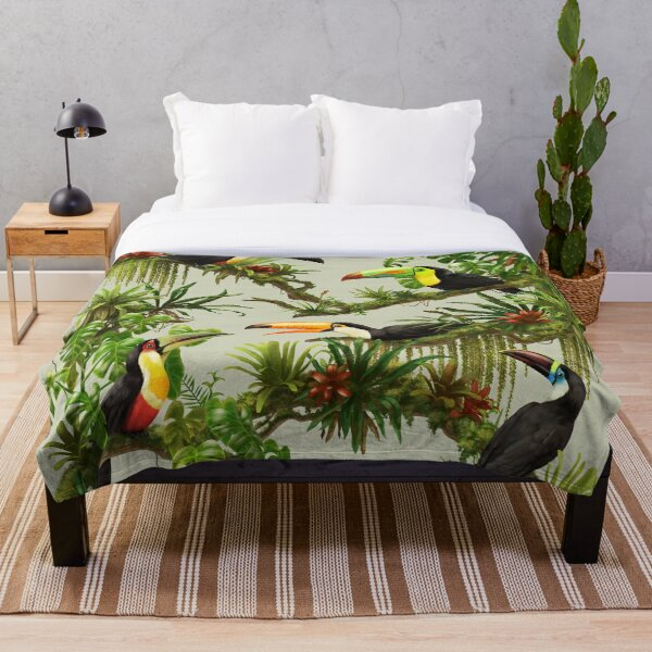 Toucans and bromeliads - canvas background Throw Blanket