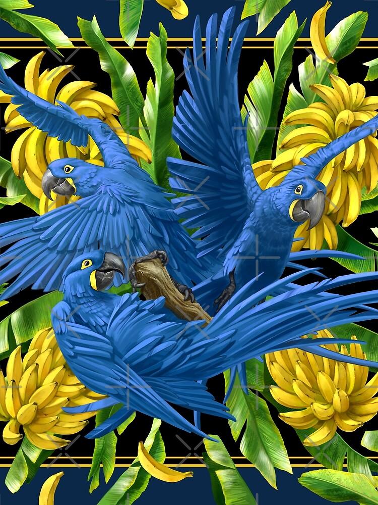 Hyacinth Macaws and Bananas Stravaganza (black background) by ikerpazstudio