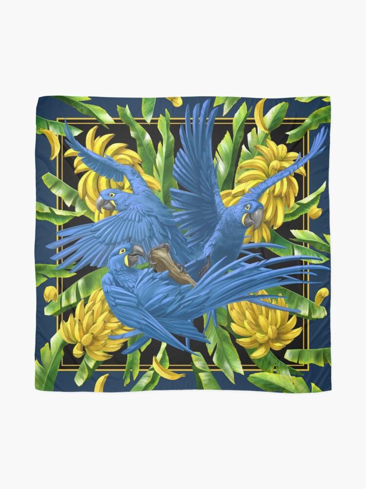 Alternate view of Hyacinth Macaws and Bananas Stravaganza (black background) Scarf