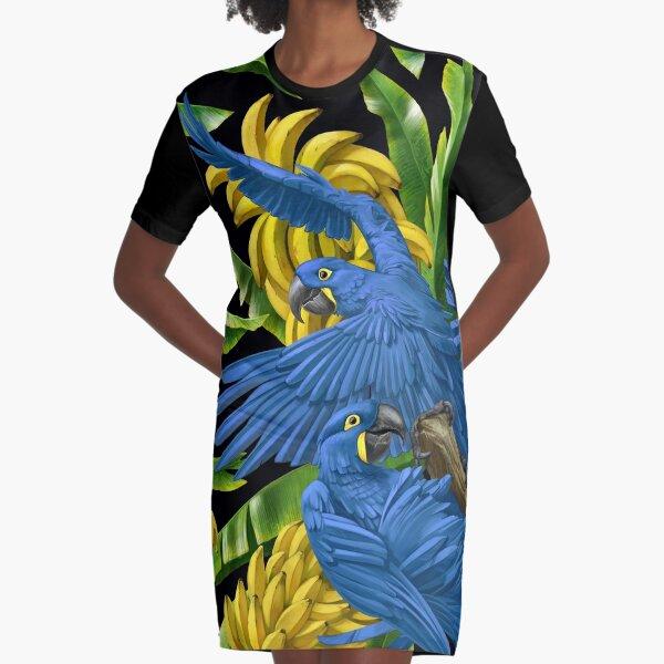 Hyacinth Macaws and Bananas Stravaganza (black background) Graphic T-Shirt Dress