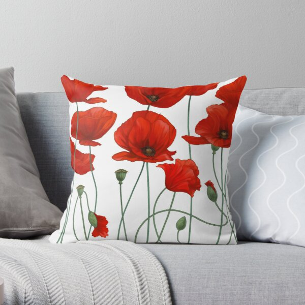 Poppy Stems. Throw Pillow