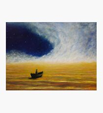 Black Boat on a River of Light Photographic Print