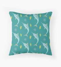 JUMPING SWORDFISH Throw Pillow
