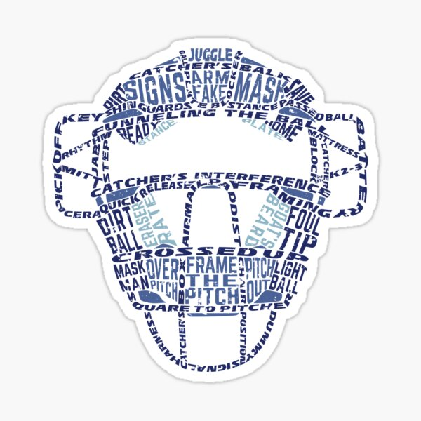 Baseball Catchers Mask Calligram Sticker