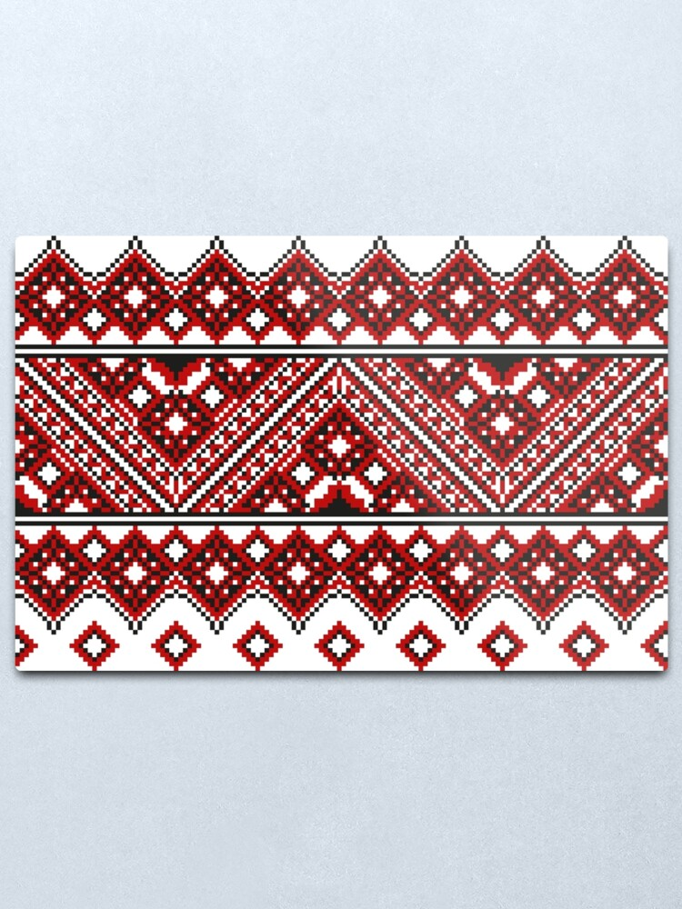Alternate view of #Ukrainian #Embroidery, #CrossStitch, #Pattern Metal Print