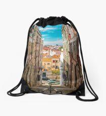 Alley in Lisbon Drawstring Bag