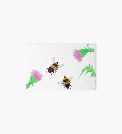 Bumblebees and Thistles Art Board Print