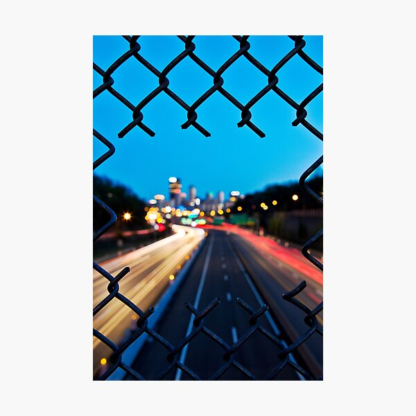 Pittsburgh Skyline At Night Through Fence Photographic Print