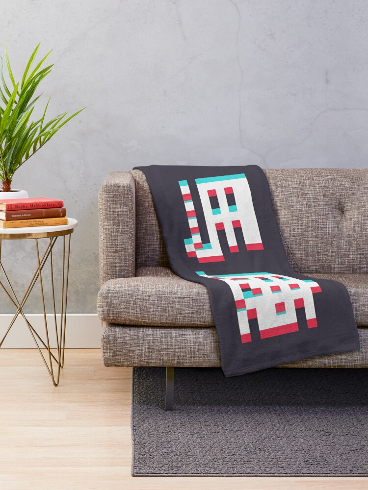 Alternate view of BAKA - 3D Pixel Text Throw Blanket