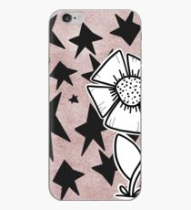 Monochrome Flower with a Starry Background iPhone Case