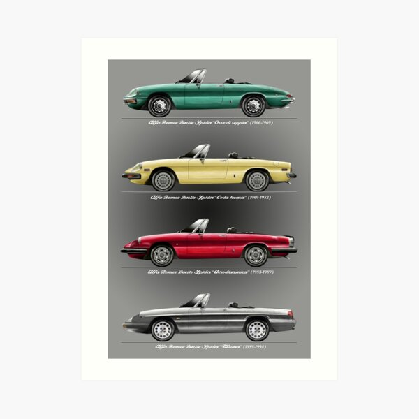Alfa Romeo Evolution of Duetto Spider Art Print