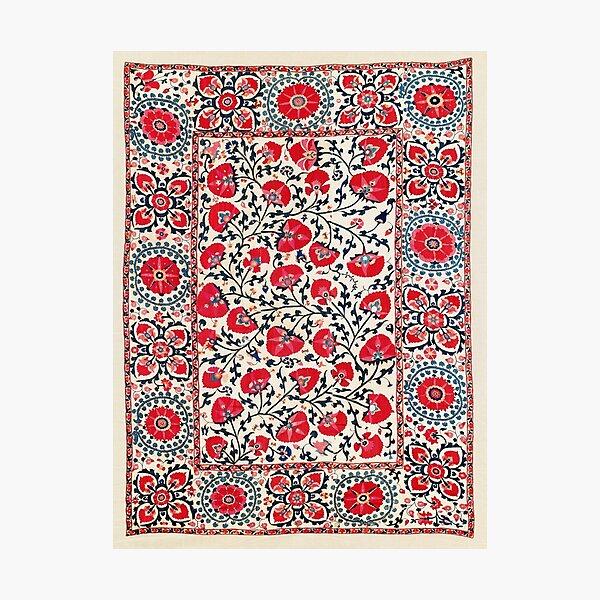 Shakhrisyabz Suzani Uzbekistan Floral Embroidery Print Photographic Print