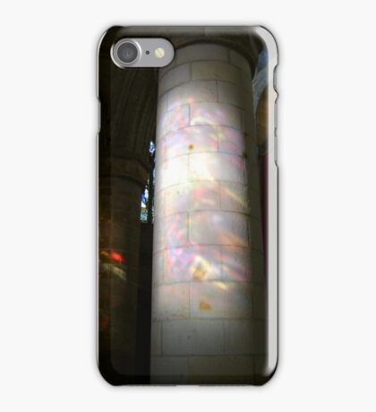 Stained glass onto stone column, Dunfermline Abbey nave iPhone Case/Skin
