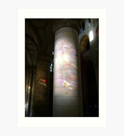 Stained glass onto stone column, Dunfermline Abbey nave Art Print