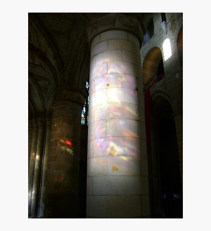 Stained glass onto stone column, Dunfermline Abbey nave Photographic Print